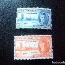 Sellos: SAINTE-HELENE ST HELENA 1946 ANNIVERSAIRE DE LA VICTOIRE GEORGE VI YVERT 110 / 11 * MH. Lote 73731391