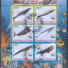 Sellos: REPUBLICA DE BENIN . HB 2008. BALLENAS .*,MH (17-184). Lote 75338279