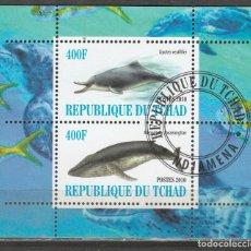 Sellos: REPUBLICA DEL CHAD MINI HB 2010. DELFIN Y BALLENA .*,MH (17-186). Lote 75340787