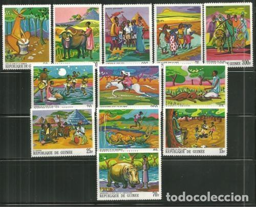 R. GUINEA 1968 IVERT 355/62 Y AEREO 82/85 *** CUENTOS Y LEYENDAS AFRICANOS (Sellos - Extranjero - África - Otros paises)