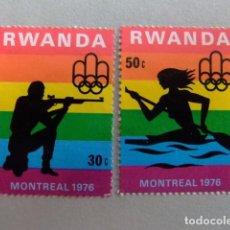 Sellos: RWANDA REPUBLIQUE RWANDAISE 1976 MONTREAL YVERT Nº 738 /39 NUEVO. Lote 80216901