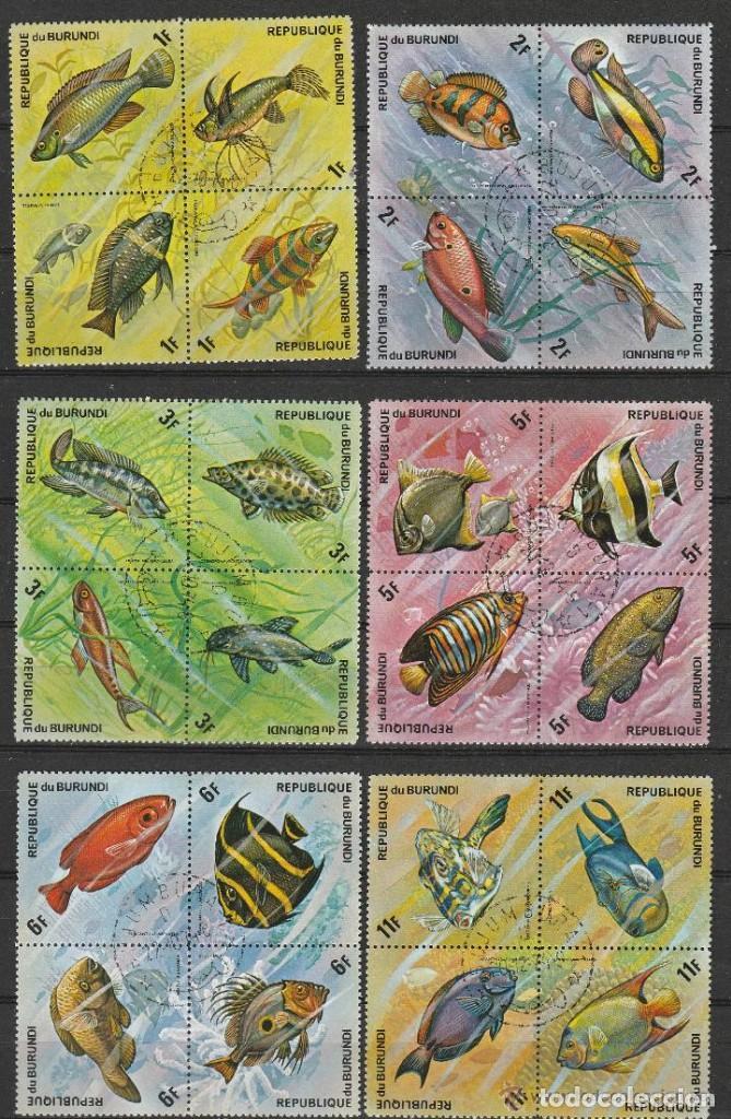 REPUBLICA DE BURUNDI. 1974 .SERIE .NORMAL Y AEREA. . PECES ( B4) 48 SELLOS .2 FOTOS .*.MH (Sellos - Extranjero - África - Otros paises)