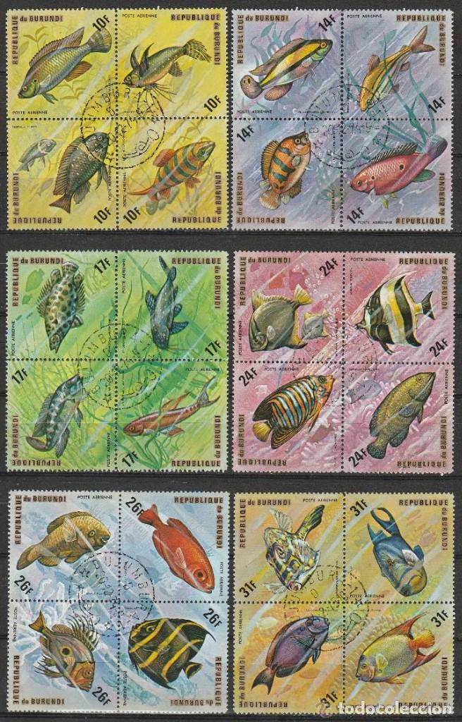 Sellos: REPUBLICA DE BURUNDI. 1974 .SERIE .NORMAL Y AEREA. . PECES ( B4) 48 SELLOS .2 FOTOS .*.MH - Foto 2 - 80271789