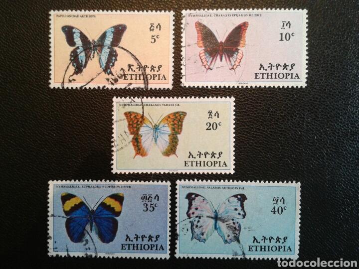 ETIOPÍA. YVERT 482/6. SERIE COMPLETA USADA. FAUNA. INSECTOS. MARIPOSAS (Sellos - Extranjero - África - Otros paises)