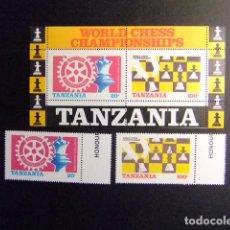 Sellos: TANZANIA TANZANIE 1986 WORLD CHESS CHAMPIONSHIPS AJEDREZ YVERT 275 / 76 + BLOC 44 ** MNH. Lote 86239264