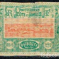 Sellos: SOMALIA FRANCESA 9, VISTA DE DJINUTI, NUEVO CON SEÑAL DE CHARNELA. Lote 88790536