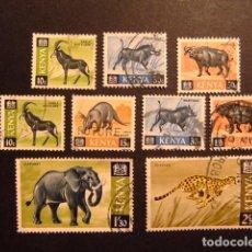 Sellos: KENYA 1966 - 69 SÉRIE COURANTE FAUNE YVERT N 21 / 30 FU INCOMPLET. Lote 91067785