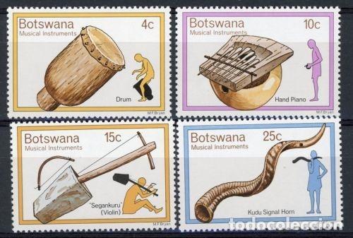 BOTSWANA 1976 IVERT 299/302 *** INSTRUMENTOS DE MÚSICA TRADICIONALES (Sellos - Extranjero - África - Otros paises)