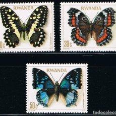 Sellos: RWANDA - LOTE DE 3 SELLOS - MARIPOSAS (NUEVO) LOTE 5. Lote 101557231