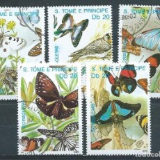 Sellos: SANTO TOMÉ Y PRÍNCIPE,1989,YVERT 503-506,MARIPOSAS,USADOS. Lote 101904011