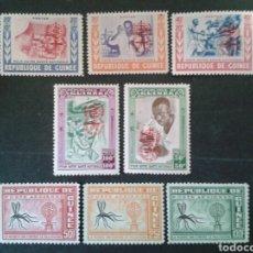 Sellos: GUINEA. YVERT 78/82 (***) + A-16/8 (SIN GOMA) SERIE COMPLETA. MALARIA. Lote 104493814
