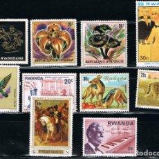 Sellos: RWANDA - LOTE DE 10 SELLOS - VARIOS (USADO) LOTE 8. Lote 106626991