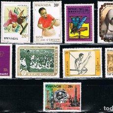 Sellos: RWANDA - LOTE DE 10 SELLOS - VARIOS (NUEVO) LOTE 10. Lote 106627499