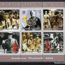 Sellos: R. GUINEA 2002 IVERT 2180A/80F *** SCOUTISMO - JAMOBOREE 2003 EN THAILANDIA - SIR BADEN POWELL. Lote 113988871