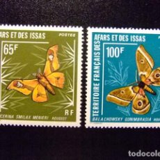 Sellos: AFARS ET ISSAS AFARS Y ISSAS 1976 FAUNA INSECTOS MARIPOSAS NOCTURNAS YVERT Nº 420 / 421 ** MNH. Lote 115382667