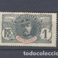 Sellos: MAURITANIA, 1909 YVERT TELLIER 1 RESTOS DE CHARNELA. Lote 116167003
