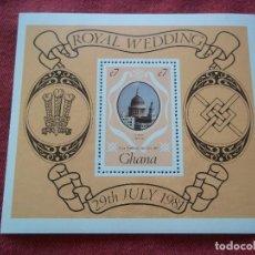 Sellos: HOJA DE BLOQUE GHANA ROYAL WEDDING 1981 NUEVOS CON GOMA. Lote 116487555