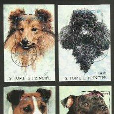 Stamps - SANTO TOME Y PRINCIPE AÑO 1995 4 HOJA BLOQUE PERROS - USADO - 116753663