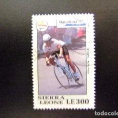 Sellos: SIERRA LEONE 1992 JUEGOS OLIMPICOS DE BARCELONA CICLISMO YVERT 1526 FU. Lote 117078703