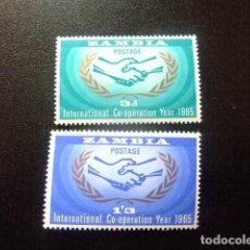 Sellos: ZAMBIA ZAMBIE 1965 ONU YVERT N 20 / 21 ** MNH. Lote 120887975