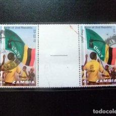 Sellos: ZAMBIA ZAMBIE 1973 PRIMER ANIVERSARIO DE 2ª REPUBLICA YVERT N 111 FU INTERPANEL. Lote 120898851