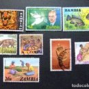 Sellos: ZAMBIA ZAMBIE 1968 PETITE COLLECTION D'ANCIENS TIMBRES YVERT N 65 -72-75-133-135-142-241-247 FU. Lote 120903799