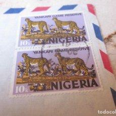 Sellos: DOS SELLOS USADOS 10 KOBOS NIGERIA - YANKARI GAME RESERVE. Lote 125870223