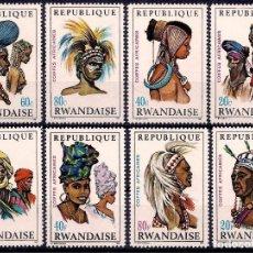 Sellos: RWANDA 1969 IVERT 301/08 *** COSTUMBRES AFRICANAS - TOCADOS - PERSONAJES DIVERSOS. Lote 128234871