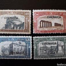 Sellos: CIRENAICA. COLONIA ITALIANA. YVERT 37/40. SERIE COMPLETA NUEVA CON CHARNELA. SOBRECARGADOS.. Lote 131153103