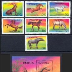 Sellos: TANZANIA 1994 - CABALLOS - YVERT Nº 1435-1441** + HOJITA Nº 220**. Lote 132028614