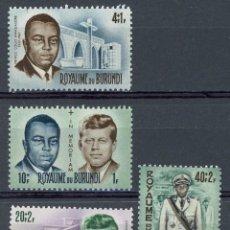 Sellos: BURUNDI 1966 IVERT 168/71 * PRINCIPE LUIS RWAGASORE Y PRESIDENTE JOHN F. KENNEDY. Lote 133000846