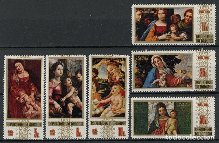 BURUNDI 1969 IVERT 342/4 Y AEREO 117/9 * NAVIDAD - PINTURA RELIGIOSA (Sellos - Extranjero - África - Otros paises)
