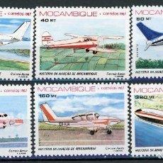 Sellos: MOZAMBIQUE 1987 AEREO IVERT 46/51 *** HISTORIA DE LA AVIACIÓN DE MOZAMBIQUE - AVIONES. Lote 136049926