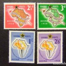 Sellos: GHANA 1959 CONFERENCE DES ETATS INDEPENDANTS YVERT 21 / 24 ** MNH. Lote 196545952