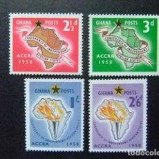 Sellos: GHANA 1958 ETATS INDÉPENDANTS D AFRIQUE YVERT 21 / 24 ** MNH. Lote 144220318