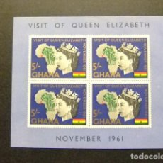 Sellos: GHANA 1961 VISITA REAL DE LA REINA ISABEL YVERT BLOC 6 ** MNH. Lote 144229114