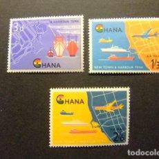 Stamps - GHANA 1962 Nouvelle Ville et Port aviones y barcos Yvert 102 + PA 7 / 8 ** MNH - 145493598