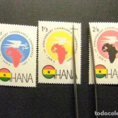 Sellos: GHANA 1962 CONFERENCIA EN CASABLANCA YVERT 103 + PA 9 / 10 ** MNH. Lote 145497606