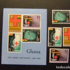 Sellos: GHANA 1963 CENTENARIO DE LA CRUZ ROJA YVERT 131 / 34 + BLOC 8 ** MNH. Lote 145501554