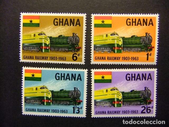 GHANA 1963 60 ANNIVERSAIRE DES CHEMINS DE FER GHANÉENS YVERT 148 / 51 ** MNH (Sellos - Extranjero - África - Otros paises)