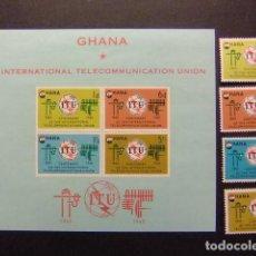 Sellos: GHANA 1965 ITU INTERNACIONAL COMUNICACION UNION YVERT 193 / 96 + BLOC 17 ** MNH. Lote 146726290