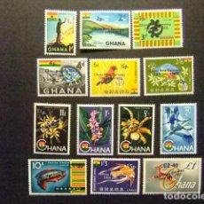 Sellos: GHANA 1965 NOUVELLE MONNAIE YVERT 201 / 11 + PA 11/12 ** MNH. Lote 146726674