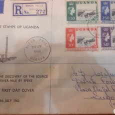 Sellos: CARTA A LUGO DESDE UGANDA 1962 CENTENARIO OF THE DISCOVERY OF THE SOURCE OF THE RIVER NILE. Lote 147214958