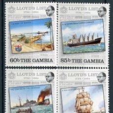Sellos: GAMBIA 1984 IVERT 514/17 *** 250º ANIVERSARIO DE LA 1ª EDICIÓN DE LA LIST LLOYD - BARCOS. Lote 148972810