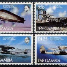 Sellos: GAMBIA 1984 IVERT 524/27 *** 50º ANIVERSARIO VUELOS TRANSATLANTICOS GAMBIA-AMERICA SUR - AVIONES. Lote 148974150