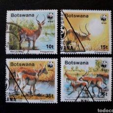 Stamps - BOTSWANA. YVERT 579/82 SERIE COMPLETA USADA. FAUNA. ANTÍLOPE ROJO. WWF - 149568132