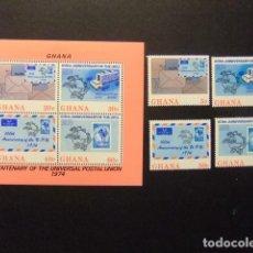Sellos: GHANA 1974 CENTENAIRE DE UPU YVERT 495 / 98 + BLOC 53 ** MNH. Lote 150701874