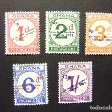 Stamps - GHANA 1965 Nouvelle Monnaie - timbres de1958 surchargés Yvert tax 11 / 15 ** MNH - 150702030