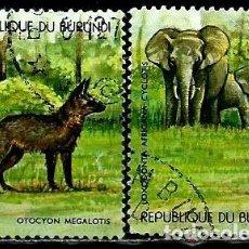 Sellos: BURUNDI SCOTT: 522A/B-(1977) (ZORRO DE OREJAS DE MURCIÉLAGO Y ELEFANTE DEL BOSQUE AFRICANO) USADO. Lote 151877834