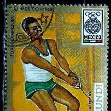 Sellos: BURUNDI SCOTT: C90-(1968) (CORREO AEREO) (JJ OO MEXICO - LANZAMIENTO DE MARTILLO) USADO. Lote 151879022